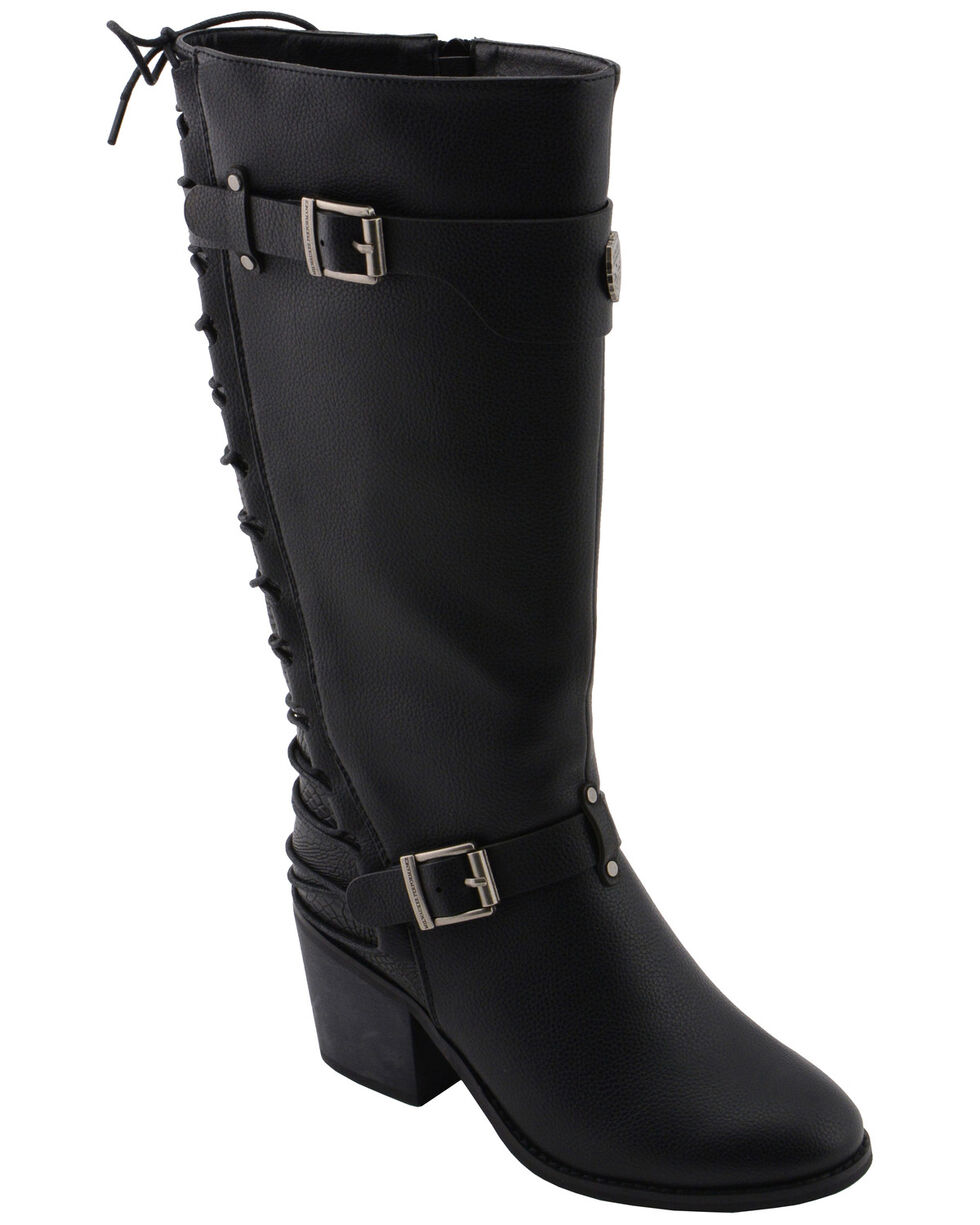 Milwaukee Leather Women's Back End Laced Riding Boots - Round Toe, Black, hi-res