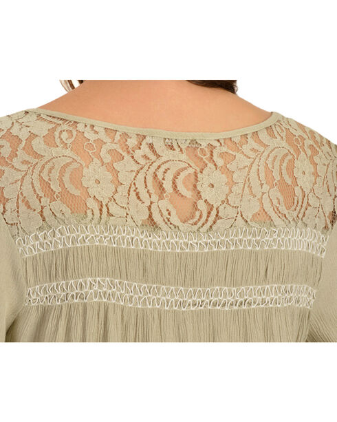 Miss Me Lace Embellished Crepe Top, Olive, hi-res