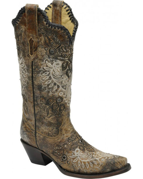 Corral Studded Whip Stitch Cowgirl Boots - Snip Toe, Black, hi-res