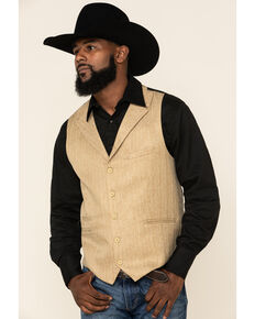 Scully Men's Wheat Pinstripe Herringbone Lined Vest   , Tan, hi-res