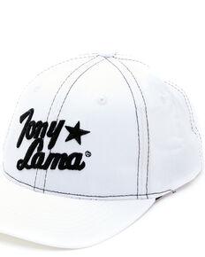 Tony Lama Men's White Embroidered Logo Solid Back Ball Cap, White, hi-res