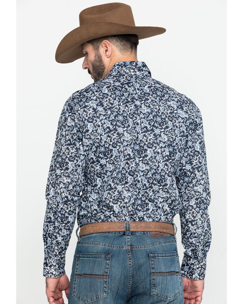 Rock & Rock Denim Men's Floral Print Long Sleeve Western Shirt , Black, hi-res