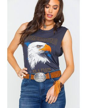 Project Social T Women's Charcoal Homebound Eagle Muscle Tee , Charcoal, hi-res