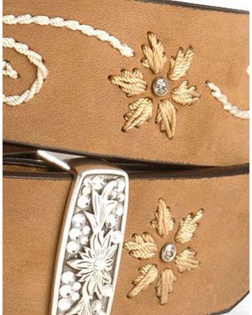 Nocona Floral Stitched Leather Belt, Brown, hi-res