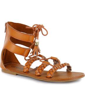 Shyanne Women's Tassel Lace-Up Sandal, Tan, hi-res