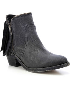 Circle G Fringe Zip Booties - Round Toe, Black, hi-res