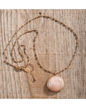 Silver Jeans Women's Genuine Rose Quartz Semi-Precious Reversible Pendant, Gold, hi-res