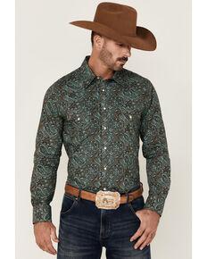 Rock & Roll Denim Men's Teal Paisley Print Long Sleeve Snap Western Shirt , Teal, hi-res