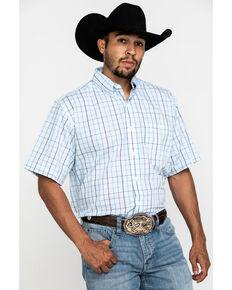 Wrangler Men's Classic Teal Plaid Short Sleeve Western Shirt , Teal, hi-res
