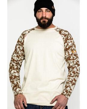 Ariat Men's FR Sand/Digi Camo Baseball Tee, Camouflage, hi-res