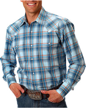 Roper Men's Blue Plaid Long Sleeve Western Shirt, Blue, hi-res