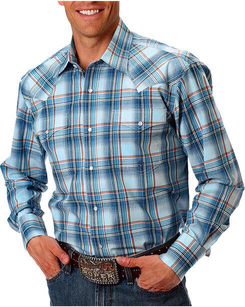 Roper Men's Blue Plaid Long Sleeve Western Shirt, Blue, hi-res