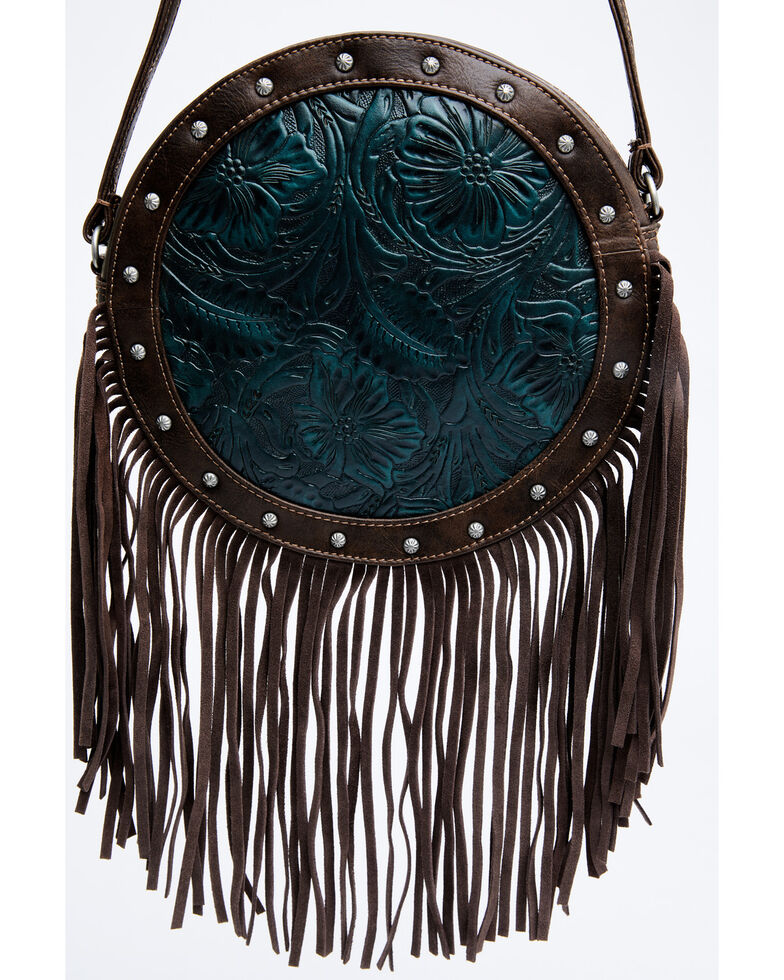 Shyanne Women's Cassidy Turquoise Tooled Crossbody Bag, Chocolate/turquoise, hi-res