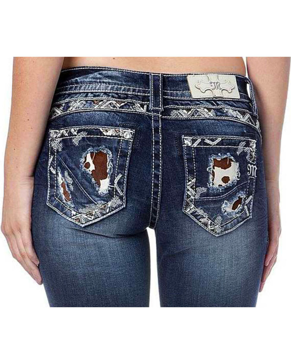 Miss Me Women's Mid Rise Cow Print Jeans - Boot Cut , Indigo, hi-res