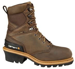 "Carhartt 8"" Crazy Horse Brown Waterproof Insulated Logger Boot - Safety Toe, Crazyhorse, hi-res"