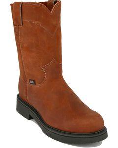 "Justin Original 10"" Pull-On Work Boots - Round Toe, Bark, hi-res"