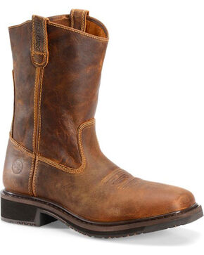 "Double H Men's 11"" EH Pull On Work Boots - Comp Toe, Brown, hi-res"