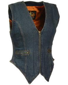 Milwaukee Leather Women's Side Stretch Zipper Front Denim Vest, Blue, hi-res