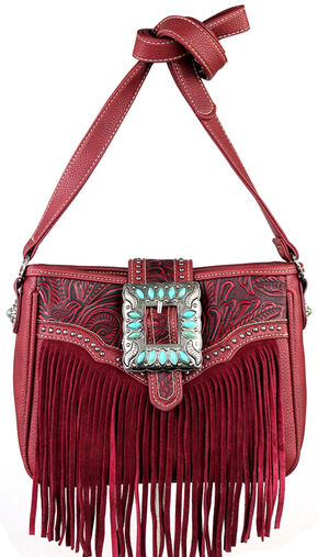 Montana West Trinity Ranch Belt Buckle Messenger Bag with Fringe, Red, hi-res