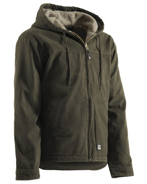 Berne Washed Hooded Work Coat - XLT and 2XT, Olive Green, hi-res