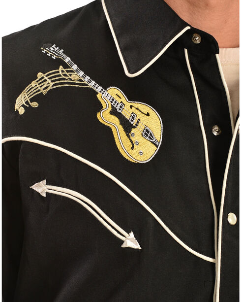Scully Rock 'N Roll Embroidered Retro Western Shirt, Black, hi-res