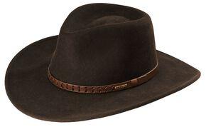 Stetson Sturgis Pinchfront Crushable Wool Felt Hat, Chocolate, hi-res