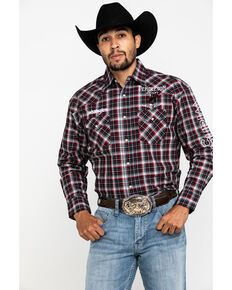 Wrangler Men's Red Plaid Pendleton Logo Long Sleeve Western Shirt , Red, hi-res