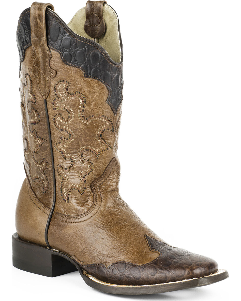 Roper Women's Faux Sea Turtle Wingtip Cowgirl Boots - Square Toe, Brown, hi-res