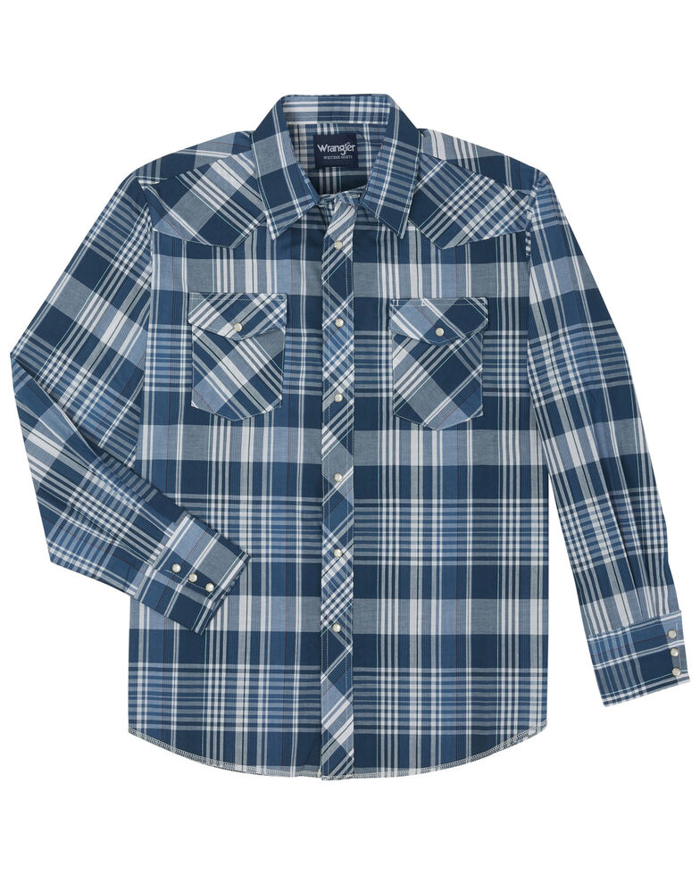 Wrangler Men's Assorted Stripe or Plaid Classic Long Sleeve Western Shirt, Plaid, hi-res