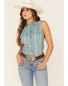 Wrangler Retro Women's Teal Striped Sleeveless Western Core Shirt , Teal, hi-res