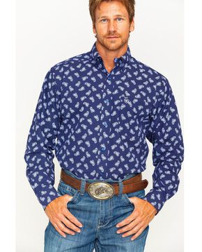 Ariat Men's Navy Duval Print Western Shirt , Navy, hi-res