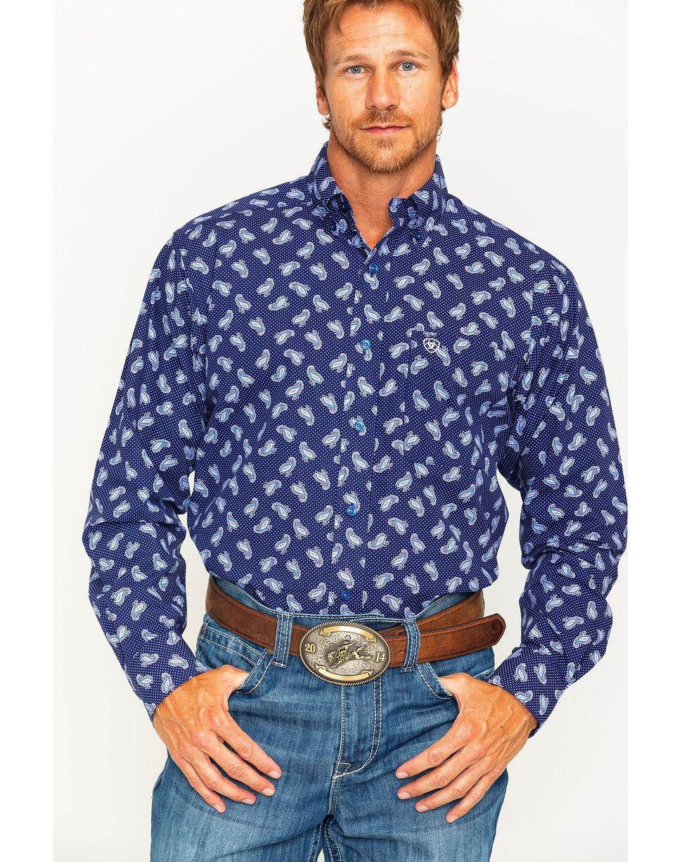 Ariat Men's Navy Duval Print Western Shirt , Navy, hi-res