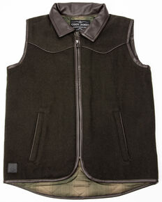 Cody James Boys' Western Wool Vest , Olive, hi-res