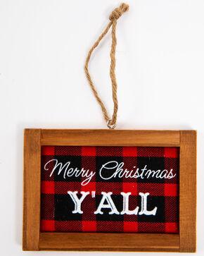 BB Ranch Buffalo Check Mini Sign Ornament, Red, hi-res