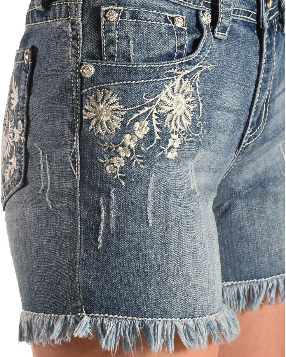 Grace in LA Women's Embroidered Raw Hem Denim Shorts, Indigo, hi-res