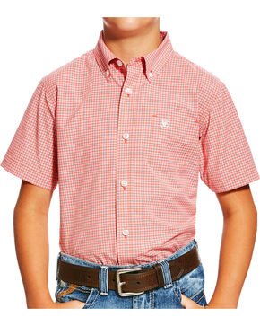 Ariat Boys' Orange Newark Print Western Shirt , Orange, hi-res