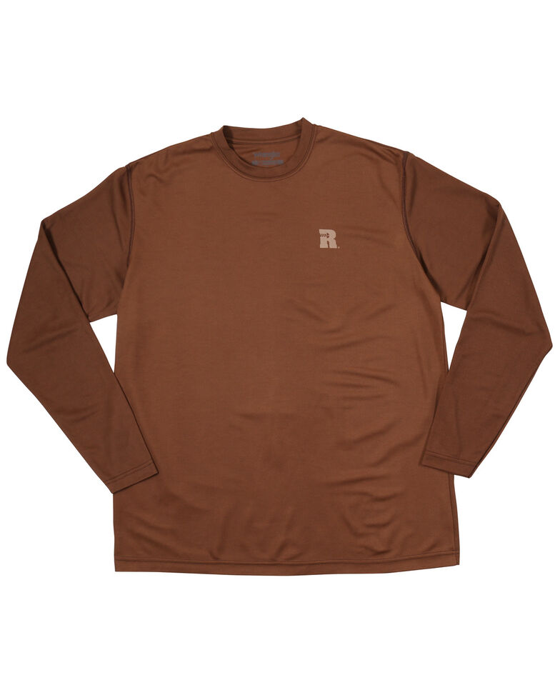 Wrangler Riggs Men's Brown Crew Performance Long Sleeve Work T-Shirt - Big & Tall, Brown, hi-res