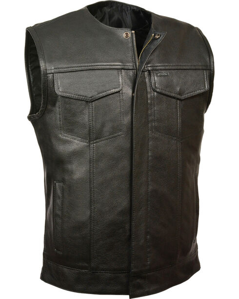 Milwaukee Leather Men's Black Collarless Zip Front Club Vest , Black, hi-res