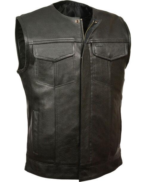 Milwaukee Leather Men's Black Collarless Zip Front Club Vest - Big 3X, Black, hi-res