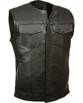 Milwaukee Leather Men's Black Collarless Zip Front Club Style Vest - Big 5X, Black, hi-res