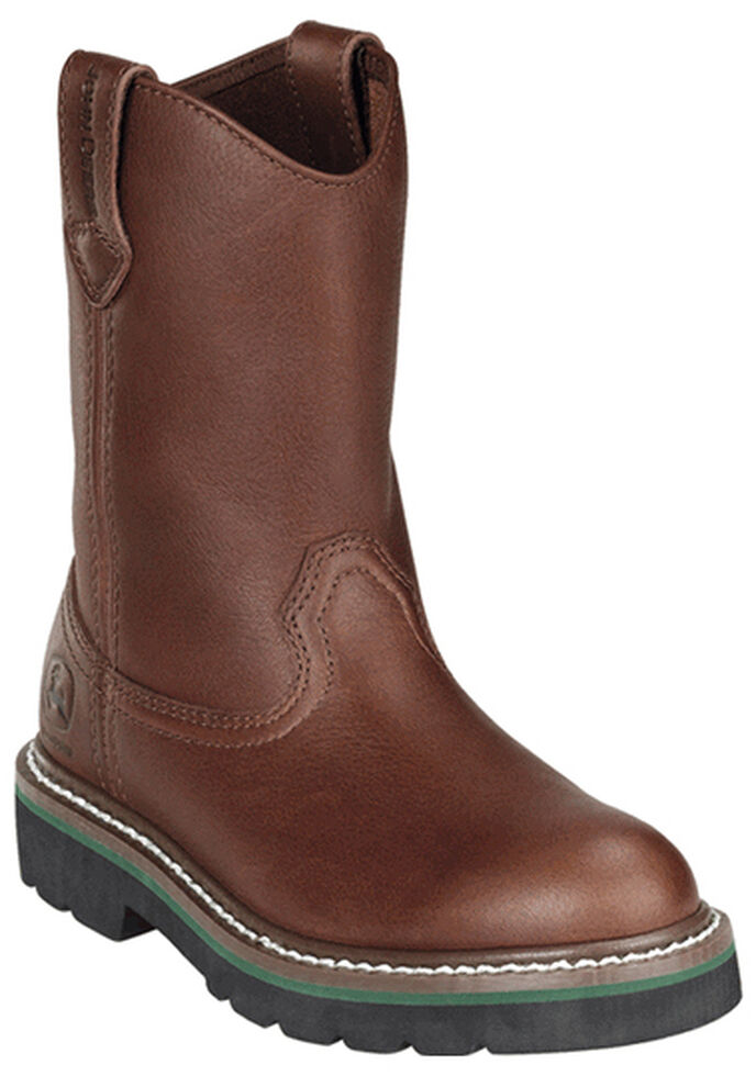 John Deere Boys' Johnny Popper Roper Western Boots - Round Toe, Brown, hi-res