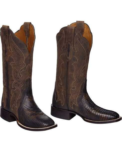 Lucchese Brown Marissa Lizard Cowgirl Boots - Square Toe , Brown, hi-res