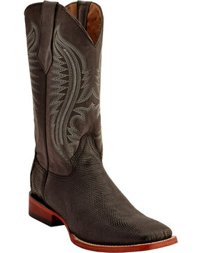Ferrini Men's Lizard Belly Western Boots - Square Toe , Chocolate, hi-res