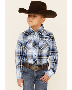 Wrangler Boys' Blue & Black Plaid Logo Long Sleeve Snap Western Shirt , Blue, hi-res