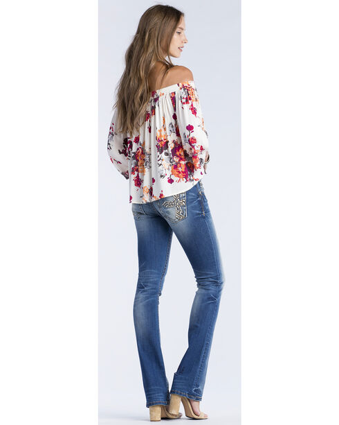Miss Me Women's Cream Floral Print Off Shoulder Top, Cream, hi-res