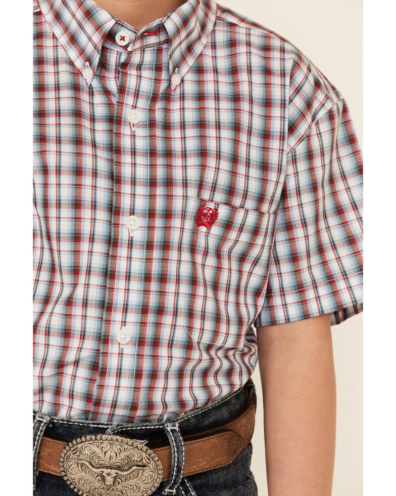 Cinch Boys' Blue Plaid Short Sleeve Button-Down Western Shirt , Blue, hi-res