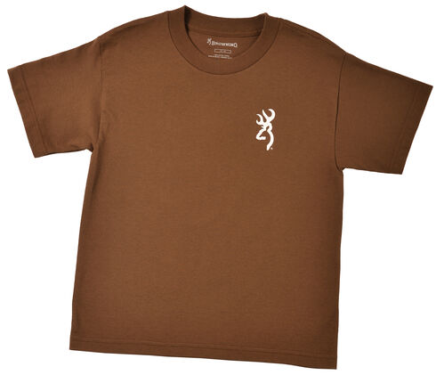 Browning Youth Boys' Brown Buckmark T-Shirt , Med Brown, hi-res