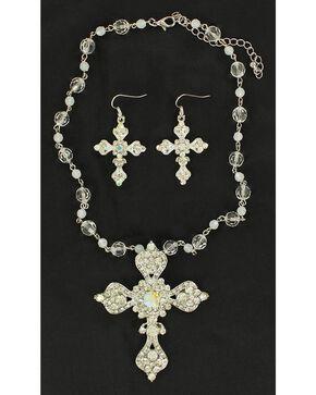 Blazin Roxx Rhinestone Embellished Cross Necklace & Earrings Set, White, hi-res