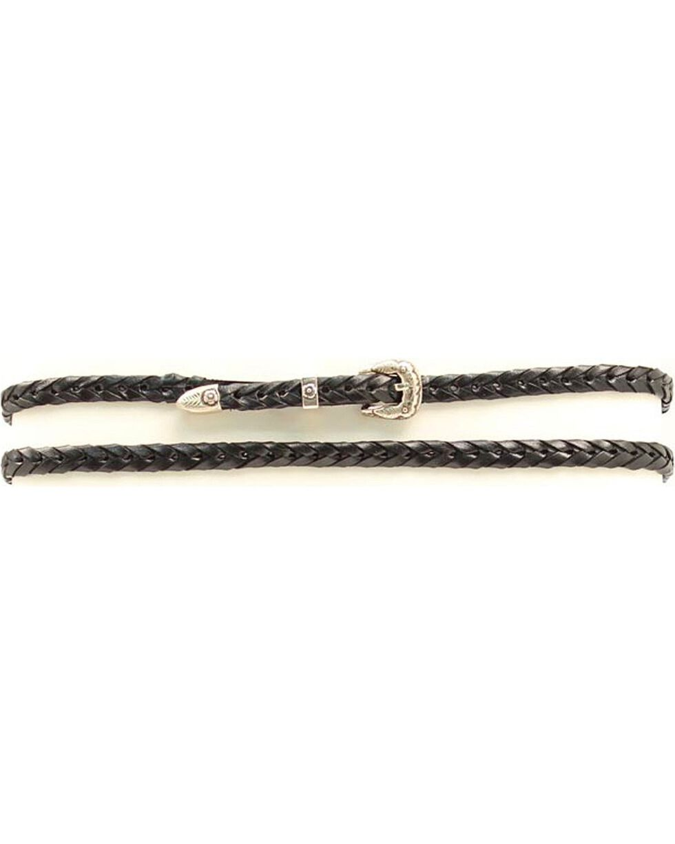 Black Braided Leather Hat Band, Black, hi-res