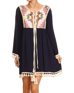 Freeway Apparel Women's Navy Embroidered Tassel Dress , Navy, hi-res
